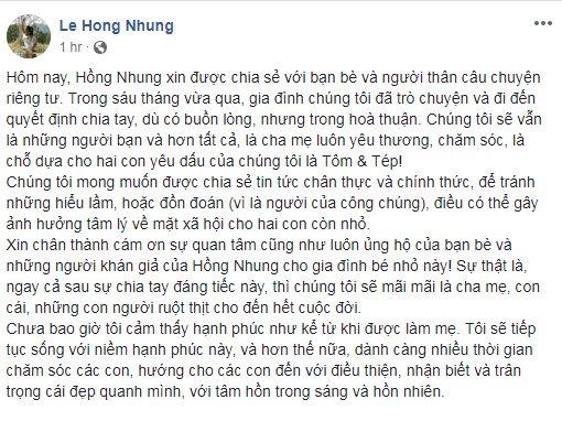 Hồng Nhung bất ngờ tuyên bố cuộc hôn nhân với chồng Tây tan vỡ