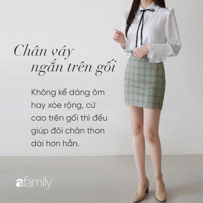 Dù cao ráo hay thấp bé, chỉ cần chọn đúng dáng chân váy phù hợp thì chân ai cũng như dài ra cả tấc