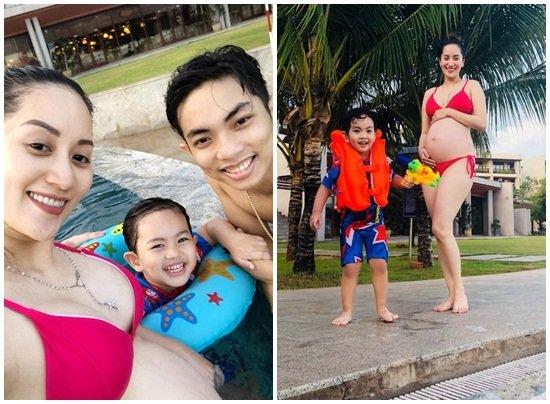 Khánh Thi diện bikini khoe bụng bầu bên chồng kém 11 tuổi