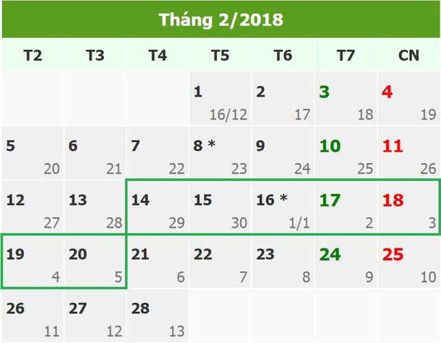 Năm 2018, người dân được nghỉ bao nhiêu ngày?