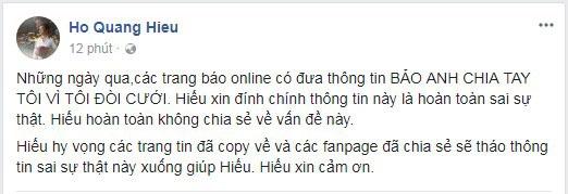 Trước tin đồn Bảo Anh đòi chia tay vì bị đòi cưới, Hồ Quang Hiếu tức giận phản pháo