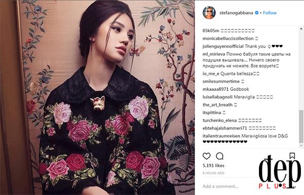 Hoa hậu con nhà giàu Jolie Nguyễn được nhà thiết kế của Gabbana ca ngợi hết lời trên Instagram