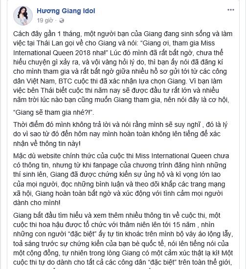 Hương Giang Idol tiết lộ lý do đi thi Hoa hậu chuyển giới, sao Việt ủng hộ hết mình