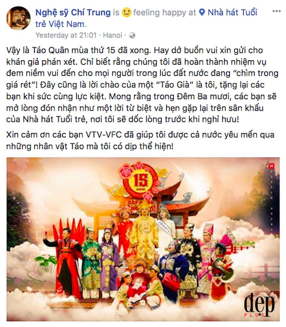 Chí Trung viết tâm thư chia tay Táo quân sau 15 năm gắn bó