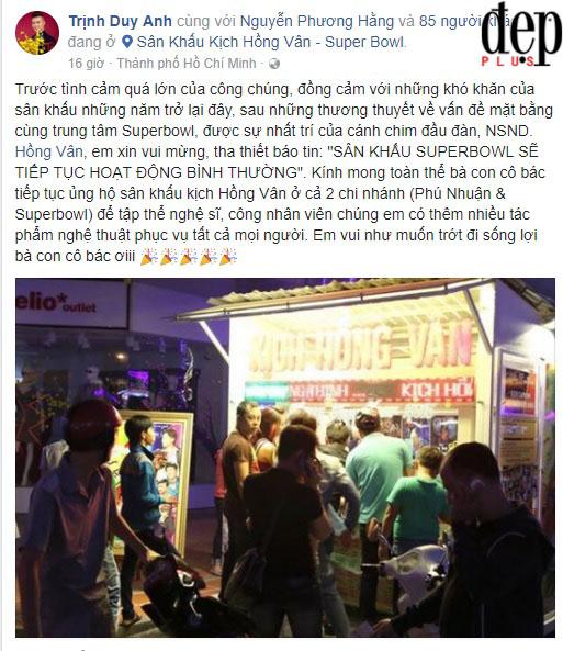 NSND Hồng Vân mở cửa trở lại sân khấu kịch SuperBowl sau khi đóng cửa được 2 ngày vì thua lỗ