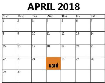 Lịch nghỉ Giỗ tổ Hùng Vương, 30/4 và 1/5 chính thức trên cả nước