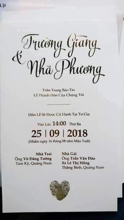 Lộ thiệp cưới của Nhã Phương - Trường Giang, xác nhận hôn lễ được tổ chức lúc 14h chiều ngày 25/9