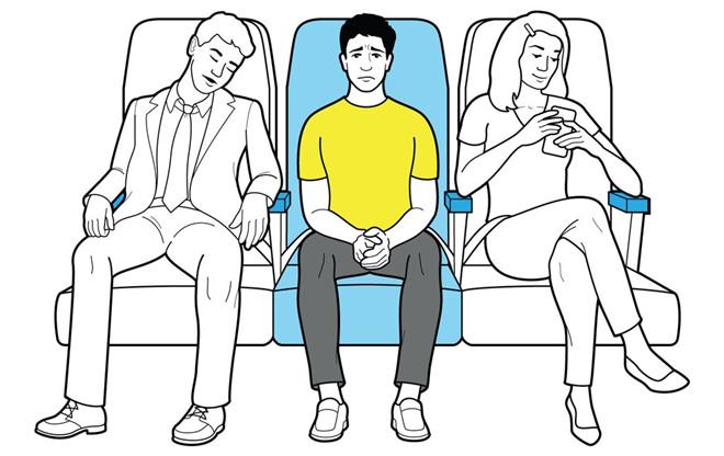 Vì sao người ngồi ghế giữa máy bay nên được nhường chỗ để tay?