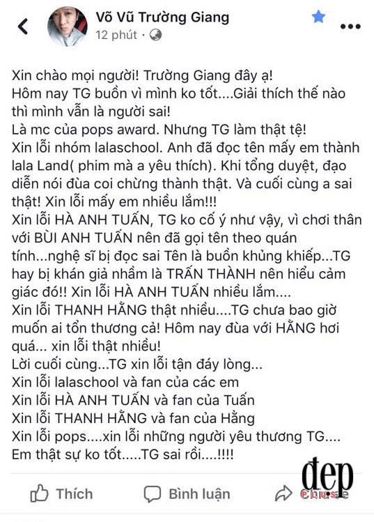 Dẫn chương trình kém duyên, đọc nhầm tên Hà Anh Tuấn, Trường Giang phải cúi đầu xin lỗi khán giả