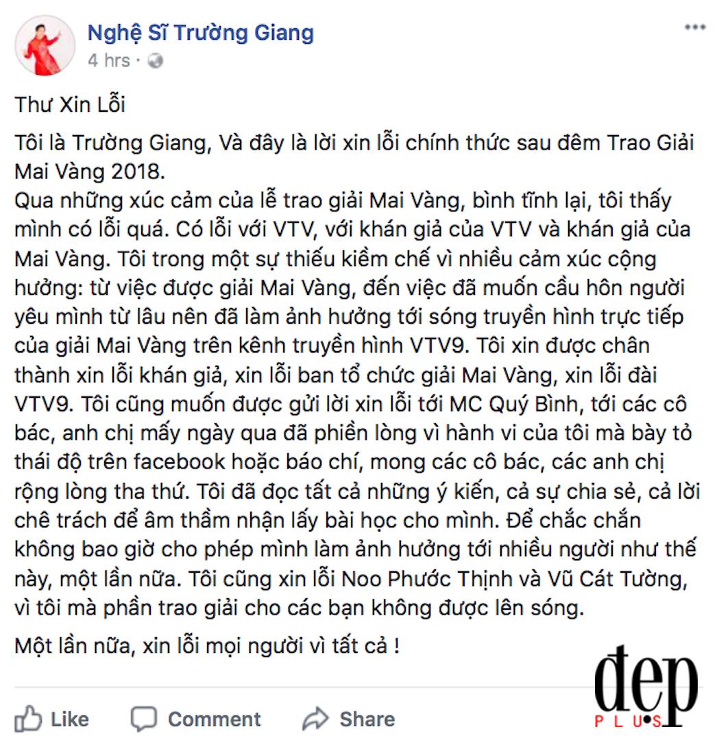 Trường Giang đã lên tiếng xin lỗi vì sự cố cướp sóng nhưng Quý Bình vẫn dùng dằng không chịu tha thứ