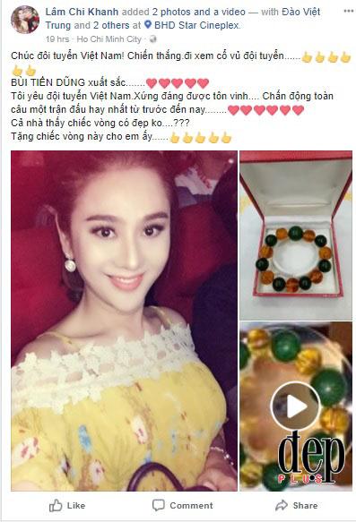 Lâm Khánh Chi tặng quà khủng 4000 USD cho thủ môn U23 Việt Nam Bùi Tiến Dũng
