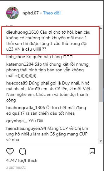 Fan phản ứng hài hước khi sắp Chung kết nhưng Hồng Duy U23 vẫn không quên nhiệm vụ... bán son!