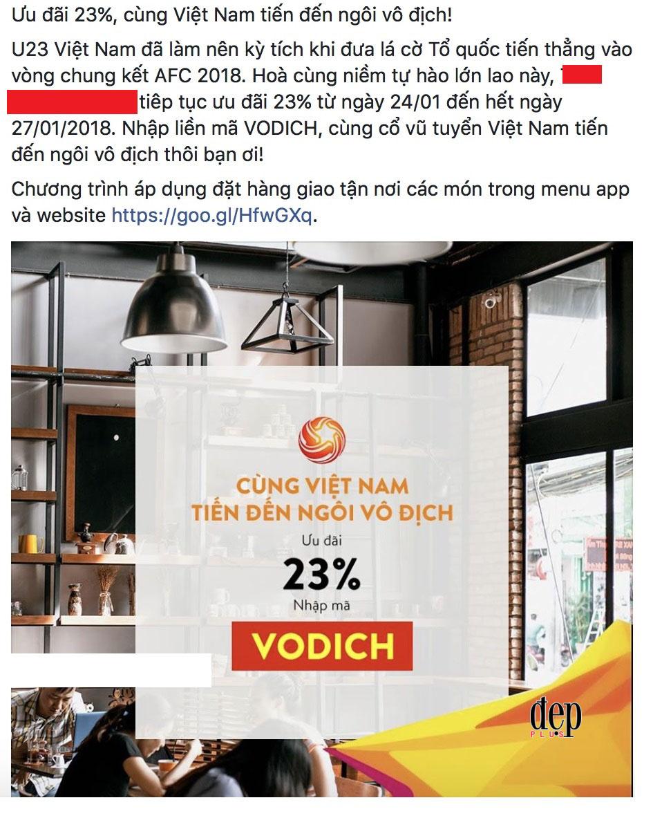 Doanh nghiệp, hàng quán đua nhau giảm giá ăn theo chiến thắng của U23 Việt Nam