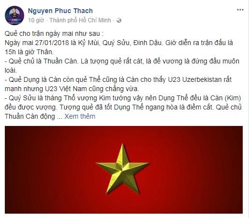 Sao Việt gửi lời chúc U23 Việt Nam giành chiến thắng vang dội trước trận chung kết với U23 Uzbekistan