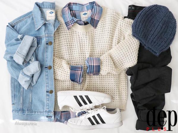 5 combo denim jacket + áo len tuyệt đẹp cho cô nàng năng động cá tính