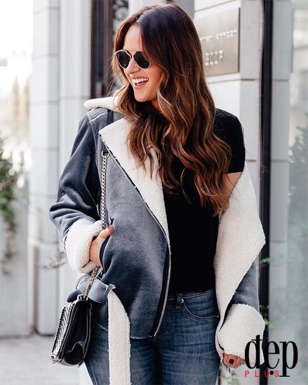 Lên đồ cực chất cùng áo khoác lông cừu
