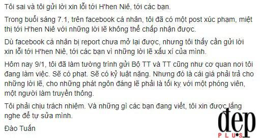 Phóng viên Đào Tuấn xin lỗi Hoa hậu Hhen Niê sau lời miệt thị trên Facebook cá nhân