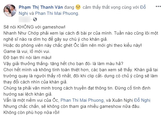 Bị chê làm lố trong Nhanh như chớp, Ốc Thanh Vân uất ức tuyên bố dừng chơi gameshow - 2