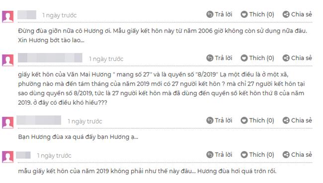 Rất nhiều cư dân mạng đã tinh ý phát hiện ra mẫu giấy đăng ký kết hôn mà Văn Mai Hương đăng tải là mẫu cũ, hiện không còn có giá trị sử dụng. - 3